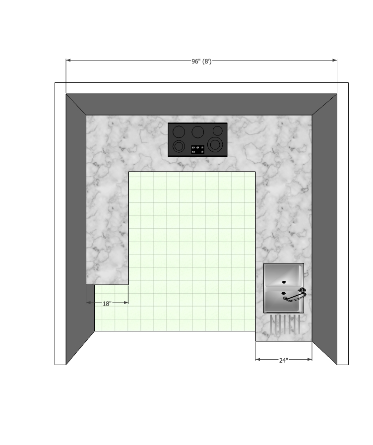 Modular Kitchen with 1.5ft counter