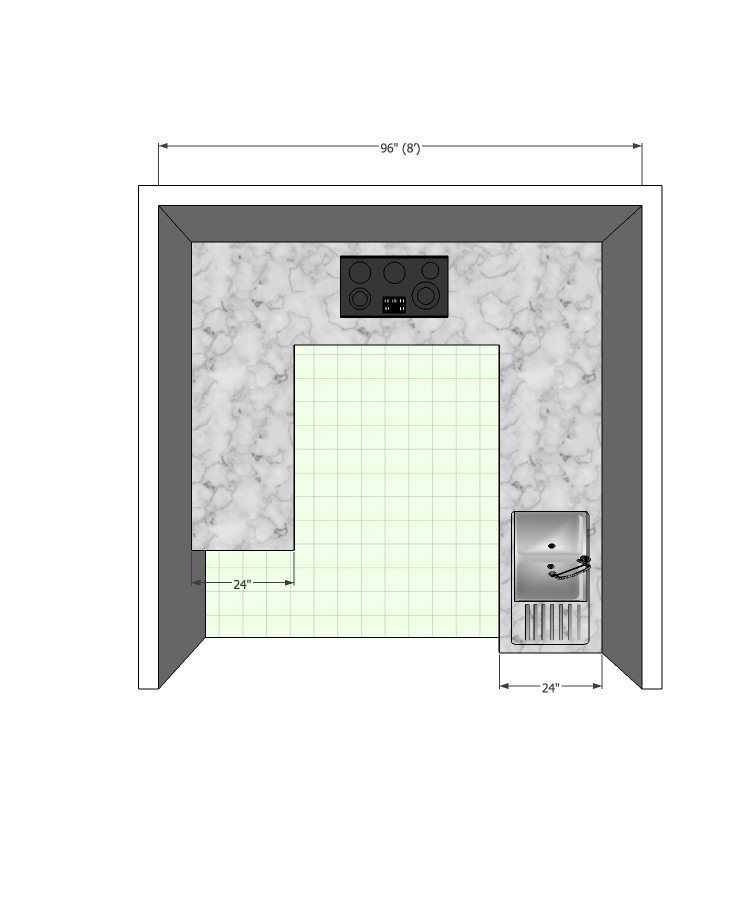 Modular Kitchen with 2ft counter