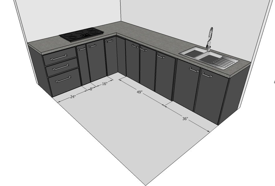 Modular Kitchen with Sink Shutters