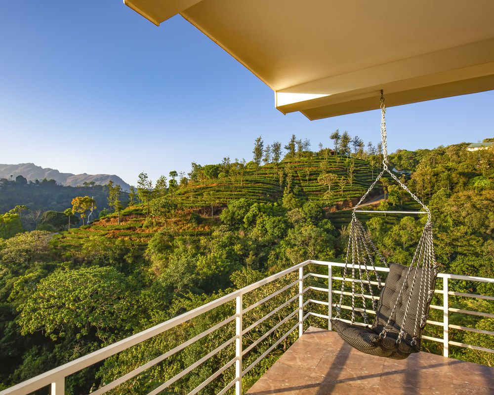 Vagamon tea plantations balcony view with hammock
