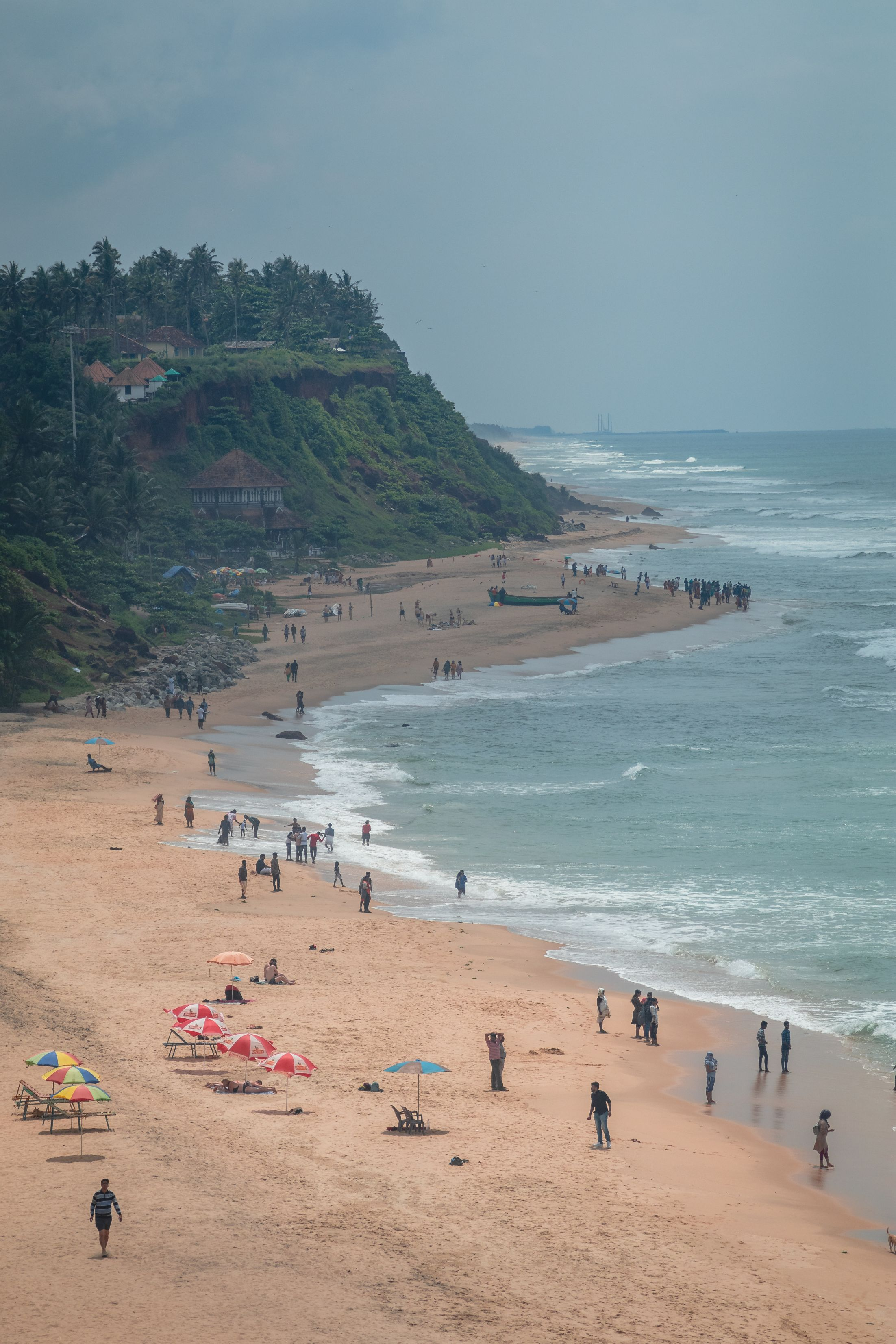 Varkala Cliff bird eye view, drone shote beach
