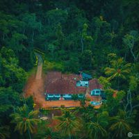 Drone shot of our hostel in Coorg
