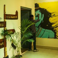 Shiva wall art inside hostel
