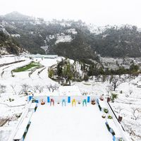 Common area of Zostel Mukteshwar after snowfall