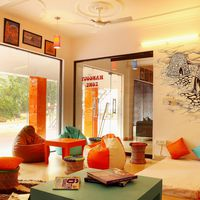 vibrant common area in hostel