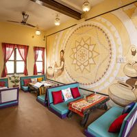 Cosy common areas of our hostel in Jaisalmer