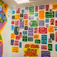 Wall art of 100 things to do in Zostel Delhi