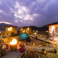 Camping area in zostel pokhara with view of phewa lake