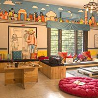 Quirky common area inside Zostel South Delhi