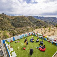Mountain views from the terrace of Zostel Mukteshwar
