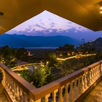 Phewa lake view from lobby of zostel pokhara