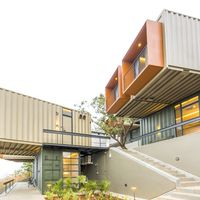 Exterior view of shipping containers at Zostel Panchgani