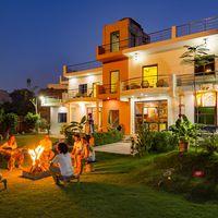 Travellers enjoying Bonfire at the hostel
