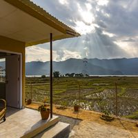 View from private cottages in zostel pokhara