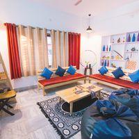 Vibrant common room in hostel