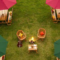 Top view of our srinagar hostel's lawn