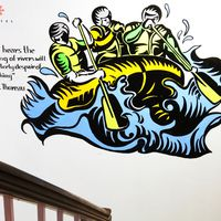 rafting mural at hostel