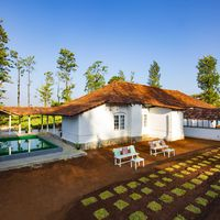 Outdoor common area by poolside in Zostel Wayanad