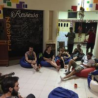 Backpackers enjoying music event in varnasi hostel