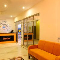 Reception area with hand drawn Pushkar city map
