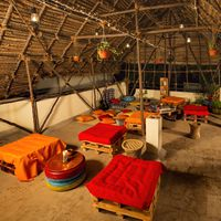 Hostel rooftop hangout area