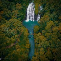 Drone shot of Coorg Waterfall