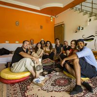 Backpackers in Agra hostel common room