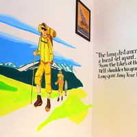 Hiking mural in Hostel Rishikesh
