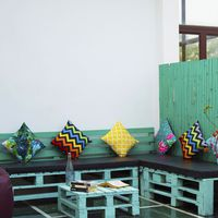 Outdoor Sitting ares in Zostel Vasant Kunj