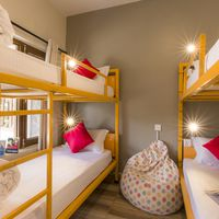 Dorm with vibrant colors in hostel