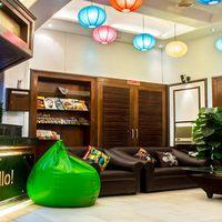 Colourful reception area of our hostel in Delhi