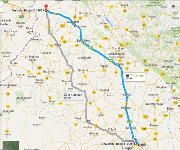 Delhi To Amritsar Self Drive