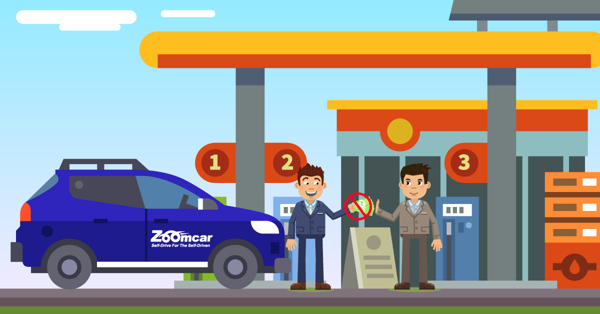 You never pay for fuel with Zoomcar, even if you refuel during the trip