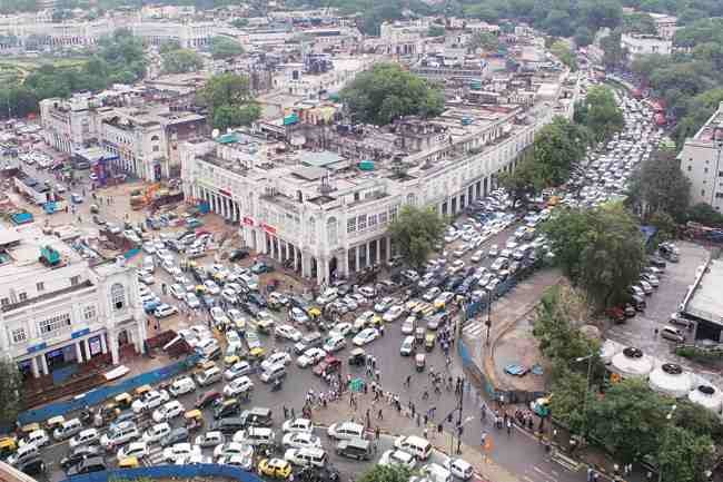 crowded road