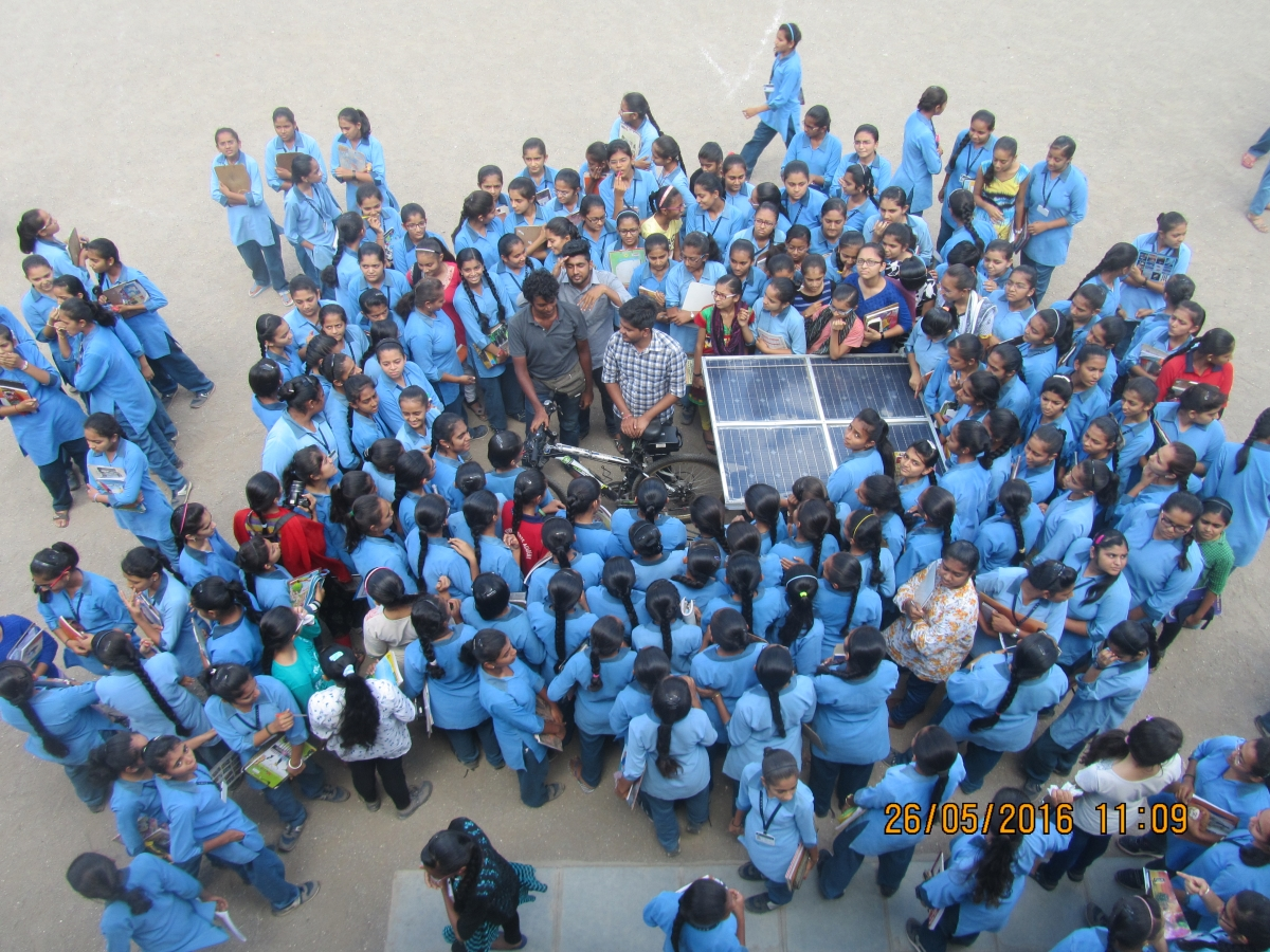 student around the solar bicycle